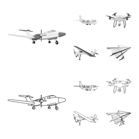 Vector illustration of plane and transport  . Collection of plane and sky stock vector illustration. Ilustrace