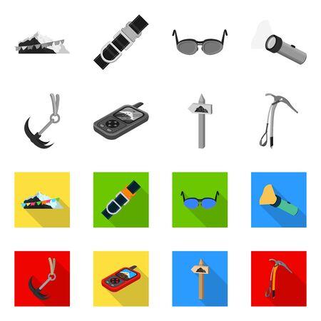 Vector design of mountaineering and peak . Set of mountaineering and camp vector icon for stock. Archivio Fotografico - 129149176