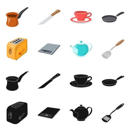 Vector design of kitchen and cook sign. Set of kitchen and appliance stock symbol for web.