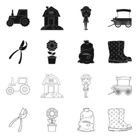 Isolated object of farm and agriculture icon. Set of farm and plant stock symbol for web.