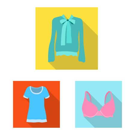 Vector design of woman and clothing symbol. Set of woman and wear stock vector illustration.