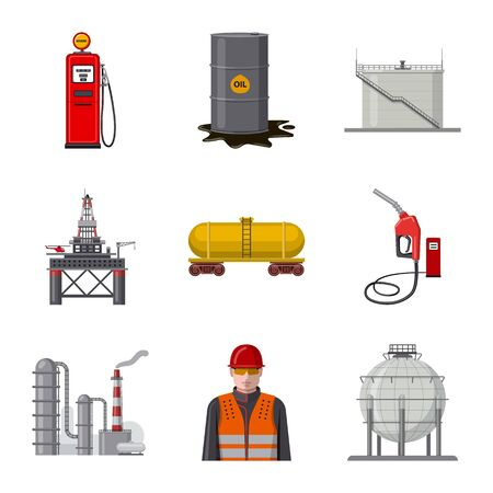 Vector design of oil and gas . Collection of oil and petrol stock symbol for web. Foto de archivo - 129149303