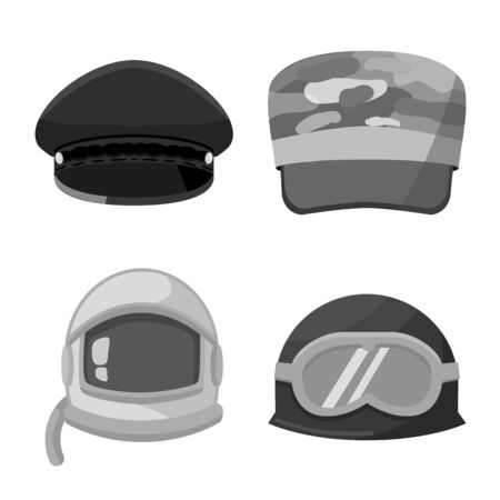Vector illustration of headgear and modern icon. Set of headgear and clothing stock symbol for web. Иллюстрация