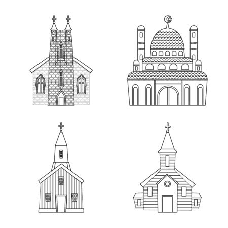 Vector illustration of architecture and faith  . Collection of architecture and temple stock symbol for web. Иллюстрация