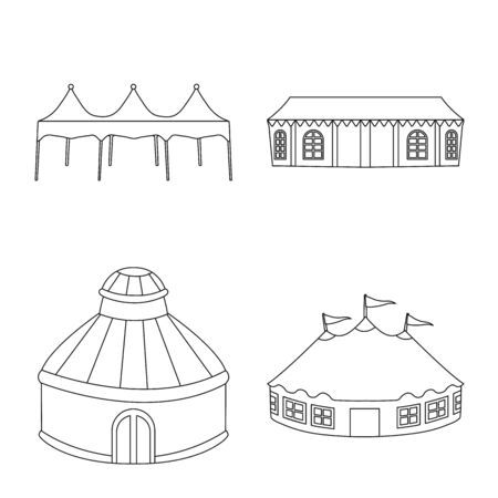 Vector illustration of roof and folding sign. Collection of roof and architecture stock vector illustration. Ilustração