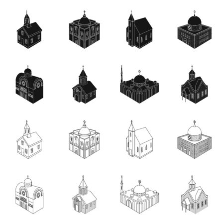Vector illustration of temple and historic symbol. Set of temple and faith vector icon for stock.