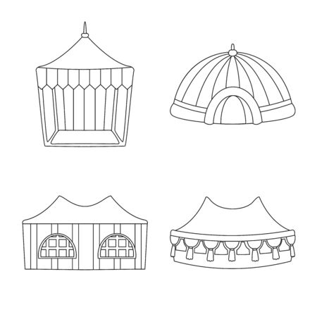 Vector design of roof and folding symbol. Collection of roof and architecture stock vector illustration.