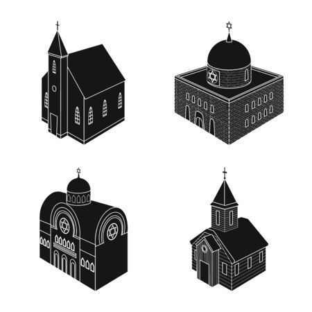 Isolated object of parish and faith icon. Set of parish and building stock symbol for web. Illustration