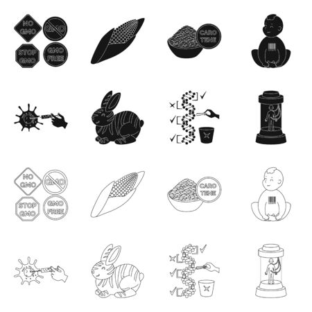 Vector illustration of test and synthetic . Set of test and laboratory stock vector illustration.