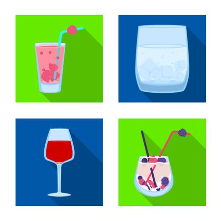 Vector illustration of liquor and restaurant symbol. Set of liquor and ingredient stock symbol for web.