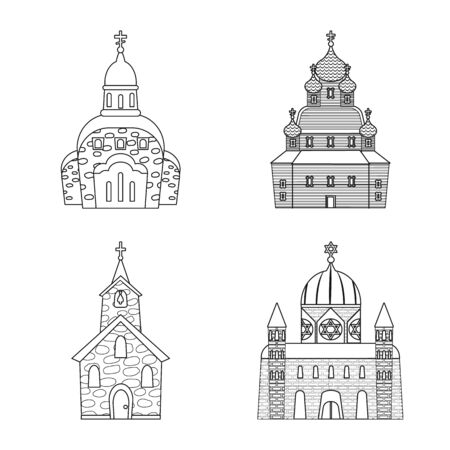 Vector design of architecture and faith . Collection of architecture and temple stock symbol for web. Imagens - 129133022