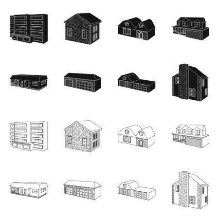 Vector illustration of facade and housing symbol. Collection of facade and infrastructure stock symbol for web.