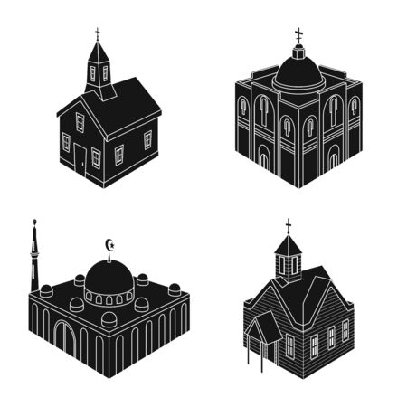 Vector design of parish and faith . Set of parish and building vector icon for stock.