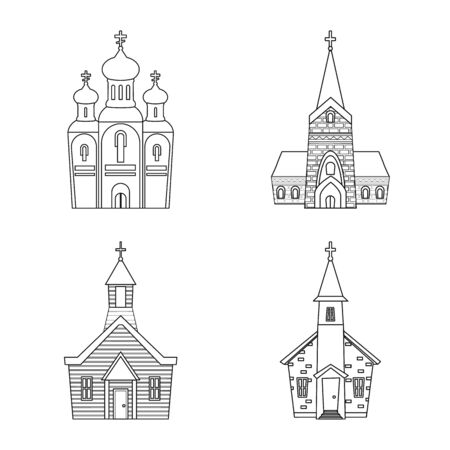 Vector design of architecture and faith sign. Collection of architecture and temple stock symbol for web. Imagens - 129132624