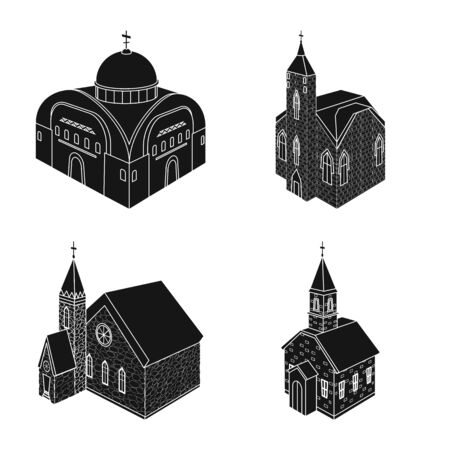 Vector design of parish and faith icon. Set of parish and building stock symbol for web.