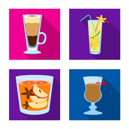 Vector illustration of liquor and restaurant symbol. Collection of liquor and ingredient stock symbol for web.