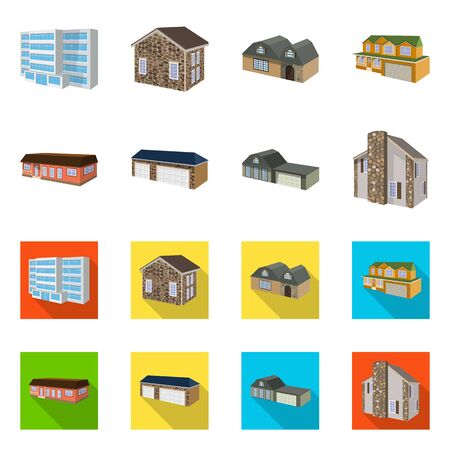 Vector illustration of facade and housing sign. Collection of facade and infrastructure stock symbol for web. Stock Illustratie