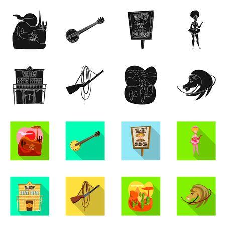 Ilustración de vector de texas e historia. Conjunto de símbolo de stock de texas y cultura para web.