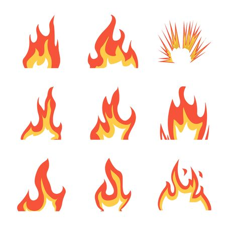Oggetto isolato di fuoco e segno rosso. Raccolta di illustrazione vettoriali stock fuoco e falò.