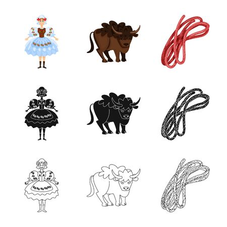 Isolated object of traditional and tour . Collection of traditional and landmarks vector icon for stock.
