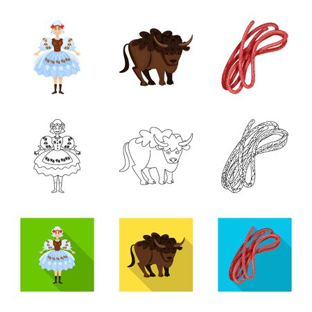 Vector design of traditional and tour symbol. Collection of traditional and landmarks stock symbol for web. Фото со стока - 129149623