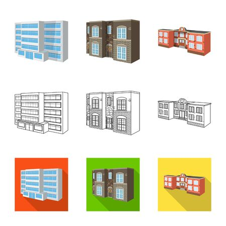 Vector design of facade and housing symbol. Set of facade and infrastructure vector icon for stock. Banque d'images - 129149644