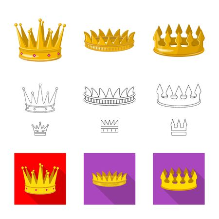 Vector illustration of medieval and nobility sign. Set of medieval and monarchy stock symbol for web.