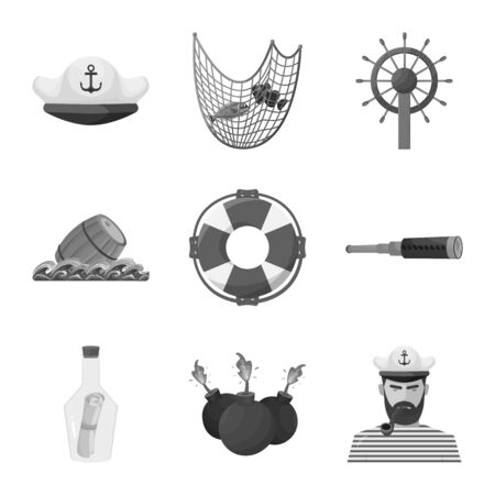 Vector design of vintage and nautical  . Set of vintage and attributes stock symbol for web. Stock Illustratie