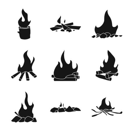 Vector illustration of natural and hiking symbol. Collection of natural and fire vector icon for stock.