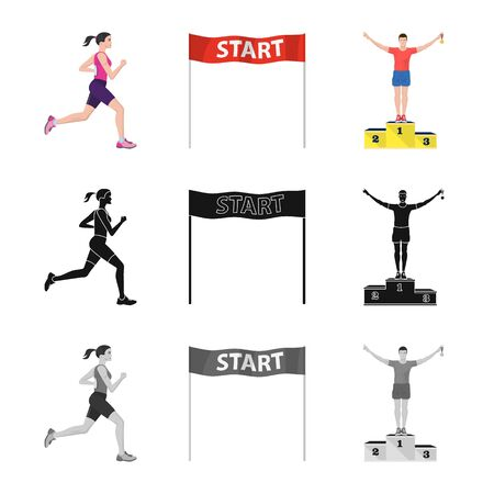 Vector illustration of sport and winner icon. Set of sport and fitness vector icon for stock. 写真素材 - 129149678