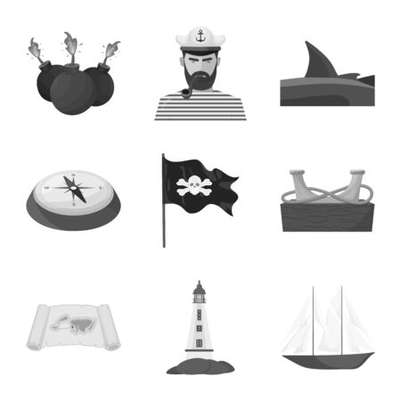 Vector design of vintage and nautical symbol. Collection of vintage and attributes stock symbol for web.