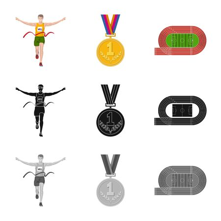 Isolated object of sport and winner icon. Collection of sport and fitness stock vector illustration.  イラスト・ベクター素材