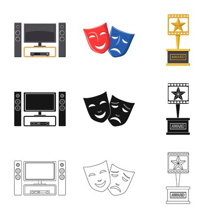 Vector design of television and filming symbol. Set of television and viewing stock vector illustration.