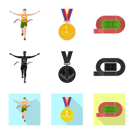 Isolated object of sport and winner  . Set of sport and fitness vector icon for stock.