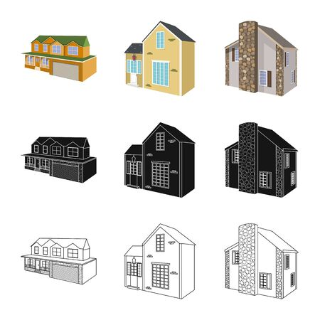 Vector design of facade and housing symbol. Set of facade and infrastructure stock symbol for web.