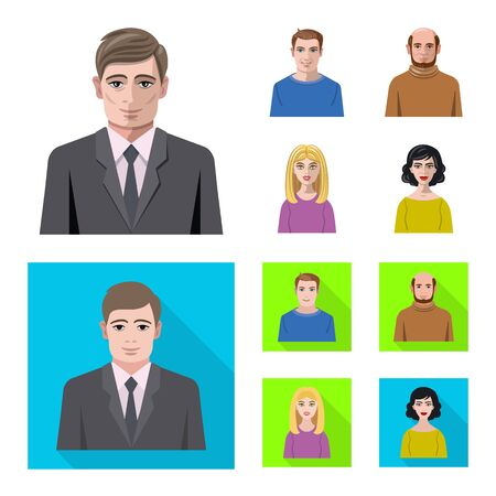 Vector illustration of hairstyle and profession sign. Collection of hairstyle and character vector icon for stock.