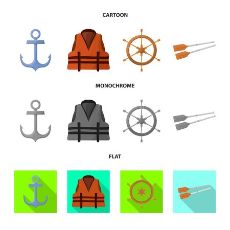 Vector design of journey and seafaring icon. Set of journey and vintage stock symbol for web.