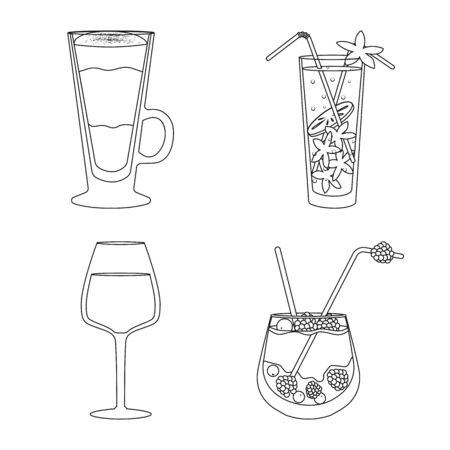 Vector design of beverage and ice sign. Collection of beverage and shaker stock vector illustration.