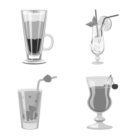 Isolated object of bar and shaker  . Set of bar and restaurant vector icon for stock. Stock Illustratie