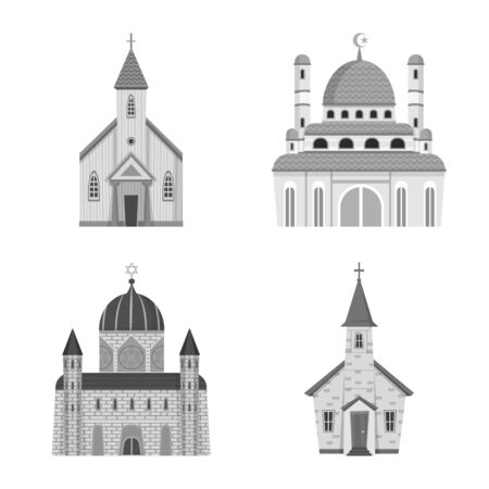 Vector design of architecture and faith symbol. Set of architecture and traditional vector icon for stock. Ilustração