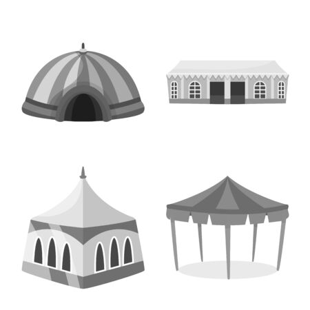Vector design of outdoor and architecture icon. Collection of outdoor and shelter stock vector illustration. Ilustração
