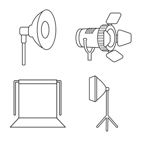 Isolated object of photography and equipment icon. Collection of photography and accessories vector icon for stock.
