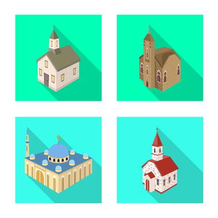 Isolated object of temple and historic symbol. Collection of temple and faith stock vector illustration. 일러스트