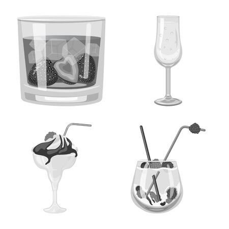 Isolated object of bar and shaker icon. Collection of bar and restaurant stock vector illustration. Ilustração