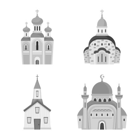 Isolated object of architecture and faith icon. Collection of architecture and traditional stock symbol for web.
