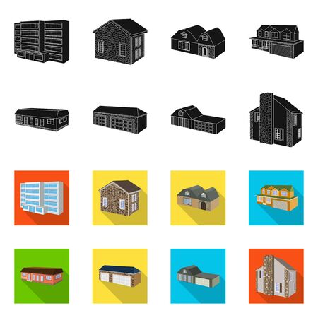 Vector illustration of facade and housing symbol. Collection of facade and infrastructure stock vector illustration. Stock Illustratie