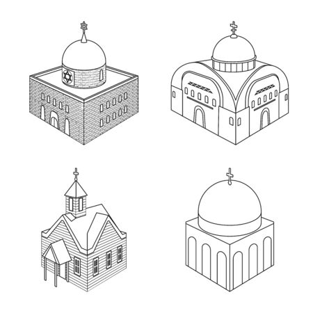 Isolated object of architecture and building icon. Collection of architecture and clergy stock symbol for web. Illustration