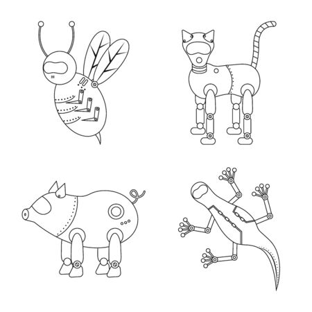 Vector design of toy and automation  . Collection of toy and science stock symbol for web.