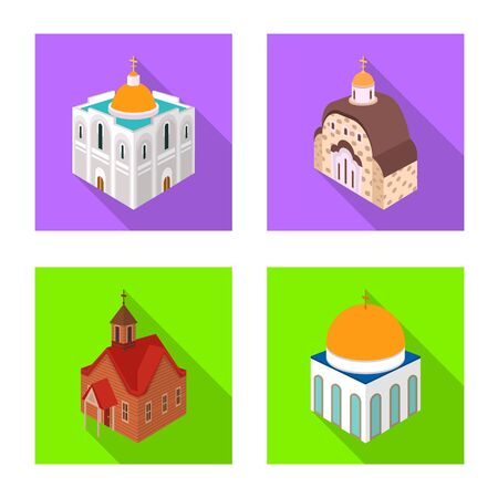 Vector illustration of temple and historic  . Collection of temple and faith stock vector illustration. Vettoriali