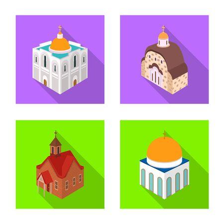 Vector illustration of temple and historic  . Collection of temple and faith stock vector illustration. Иллюстрация